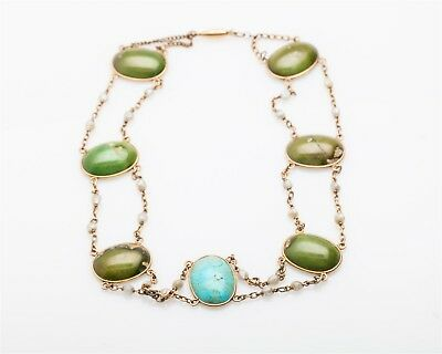 Antique Victorian 1800s Nevada Green Turquoise Pearl 14k Gold CHOKER Necklace