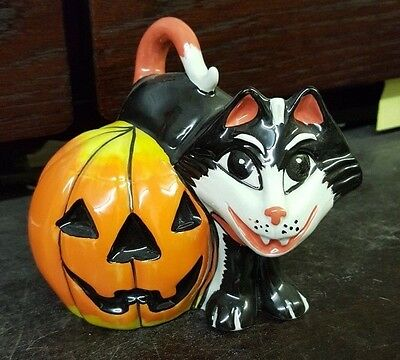 LORNA BAILEY Cat & a Pumpkin Limited Edition 6/50 Signed in BLUE FREE P&P