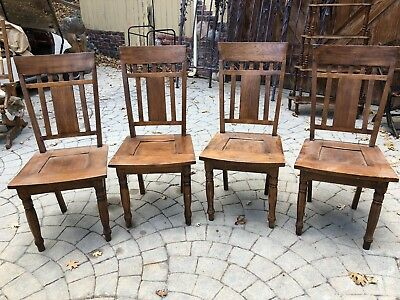 Mission Oak Arts and Crafts Style Chairs Set of 4