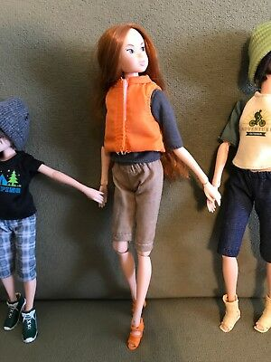 Momoko Doll Outfit Khaki Long Shorts, Gray Top, Orange Vest And Matching Shoes!