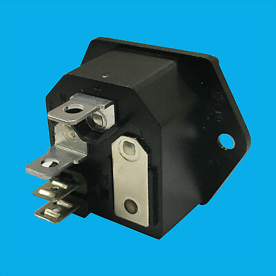 1x Fused IEC Male Panel Chasis Mount Socket 250V 10A, Kettle Lead Rewireable