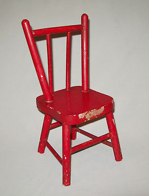 Very nice antique vtg ca 1920s Doll Size Rod Back Chair Miniature original paint