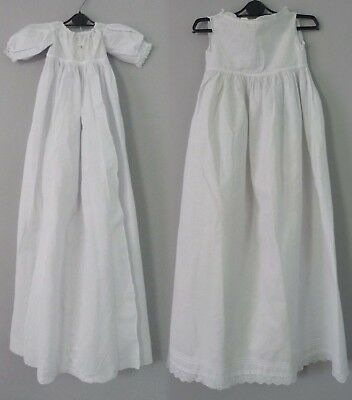 Antique Victorian Christening dress / gown and associated slip - 40'' long