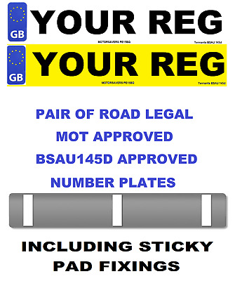 Car Number Plates - GB Euro Front & Rear - Road Legal - Inc Sticker Fixing Pads