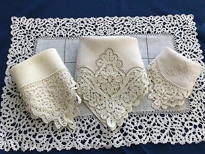 26-Pc Antique Italian CANTU Bobbin Lace*Placemats*Napkins*Runner