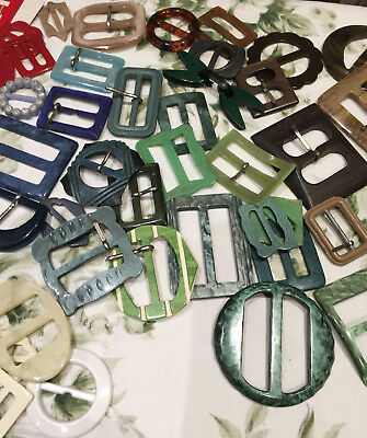 Large Collection of Vintage Plastic and Metal Buckles
