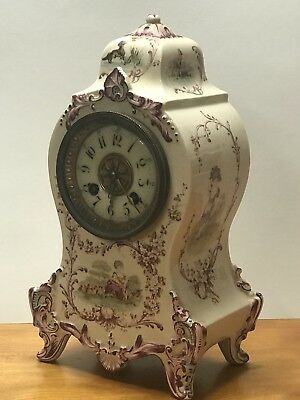 Rare Antique Longwy French Faience Mantle Clock Pottery / Porcelain
