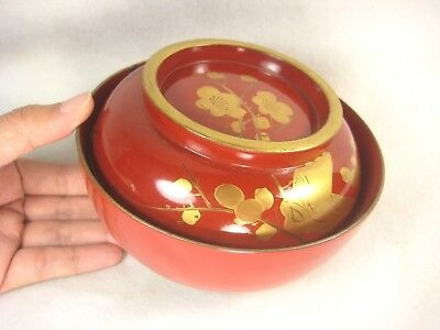 Antique Japanese 120 Yr Old Meiji Red Lacquer Lidded Bowl Makie Plum Blossom