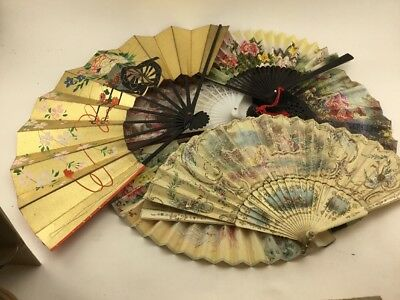 Collection Of 6 Antique And Vintage Hand Fans