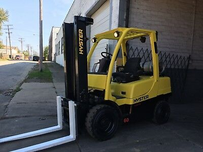 2008 Hyster 6000 LB Solid Pneumatic with Side Shift And 2 Stage mast
