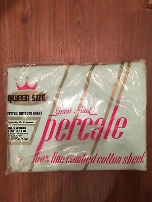 GRANT MAID Vintage Queen Fitted Sheet Mint Green 100% cotton ~New pack
