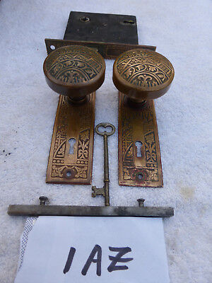 "Vintage Antique Solid Brass Corbin ""CEYLON"" 1890 Door Hardware SET # 1- AZ"
