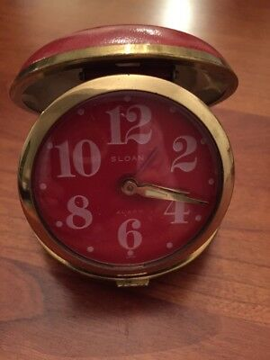 Vintage Sloan Wind Up Travel Alarm Clock Red Leather Shell Case Made in Japan