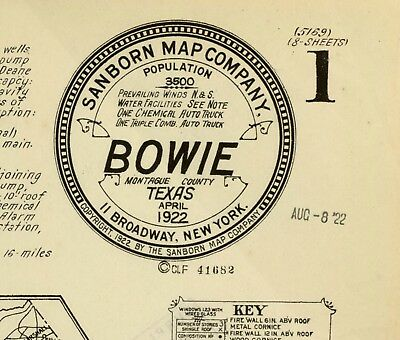 Bowie, Texas~Sanborn Map© sheets~on CD~36 maps in color 1885 to 1922