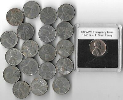 Rare Very Old US WWII Collection Vintage Steel Penny USA WW2 Big 20 Coin War Lot