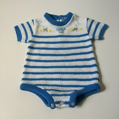 Vintage Carters Boys One Piece Elephant Sweater Knitted Size Infant 12 Month