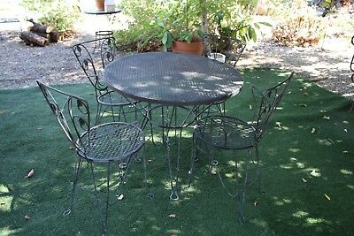 Vintage Iron Arm Chairs and Iron Table Patio/Outdoor 5 Pc. Set