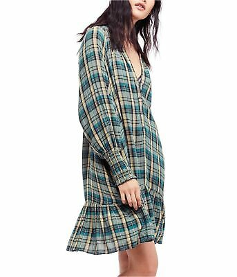 Free People Womens Red Moon Plaid A-line Dress