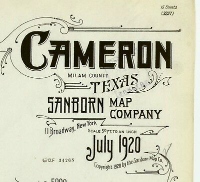 Cameron, Texas~Sanborn Map© sheets~on CD~15 maps in color made in 1920