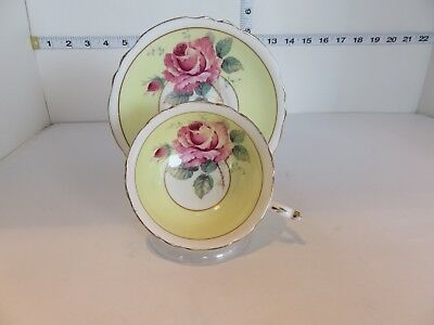 Paragon Wide Mouth Cup And Saucer Yellow With Large Pink Rose