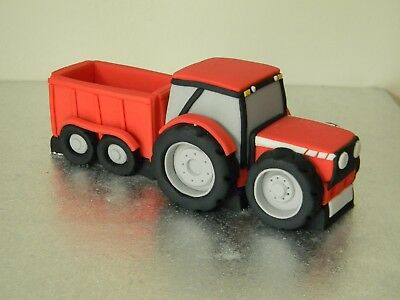 Large Tractor Trailer Edible Handmade Birthday Cake Toppers With Name Number