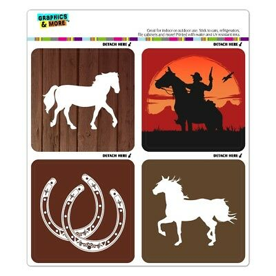 Horse Horseshoe Cowboy Refrigerator Locker Automotive Car Vinyl Magnet Set