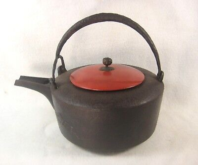 Antique Japanese Meiji Era Cast Iron Tea / Choshi Sake Pot Tetsubin Bamboo Plum