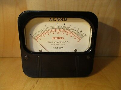 Vtg Deco Weston Elec  Daven Co Ac Volt Decibel Meter Guage Antique Telephone Car