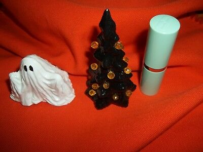 Haunted Ceramic Halloween Ghost + Black Jewel Tree Toy Doll House Size Vtg Look