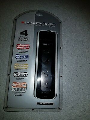Monster Platinum Surge Protected 4 Outlet Fireproof Power Board