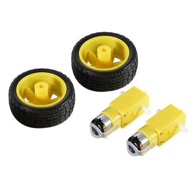 2x DC 3V-6V Smart Car Robot 65mm Wheel Drive Gear Motor + Tire for Arduino TE696