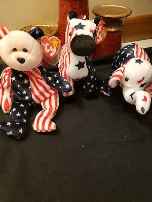 3 lot set LIBERTY red~white~blue head Ty BEANIE BABY 4th of July Patriotic