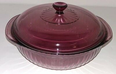 Pyrex Cranberry Amethyst Ribbed Round Casserole Dish w/ Lid, 024-S, 2Qt.