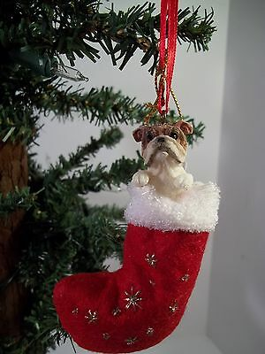BULLDOG In STOCKING ORNAMENT - NEW!