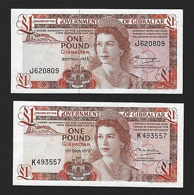 1975 / 1979 Gibraltar 1 Pound, UNC & AU, P- 20a + P-20b, Lot of 2 QEII Notes