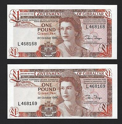 1986 Gibraltar 1 Pound, Crisp UNC, P-20d, Scarce Date, 2x Consecutive QEII Notes