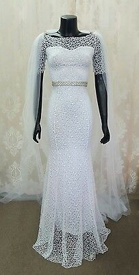 Sz 6 White Lace Bridal Gown with Crystal Sash & Veil/Cape
