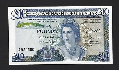 1986 Gibraltar 10 Pounds, P-22b, Popular QEII Note, aUNC / UNC As-Issued