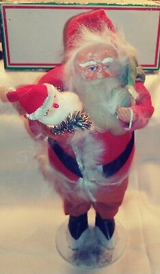 "Vtg Japan Composition Santa Claus 10"" Toy Sack Real Fur"