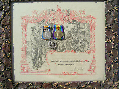 Ww1 Medal Pair Silver Wound Badge Certificate Of Honourable Discharge Keys R.e.