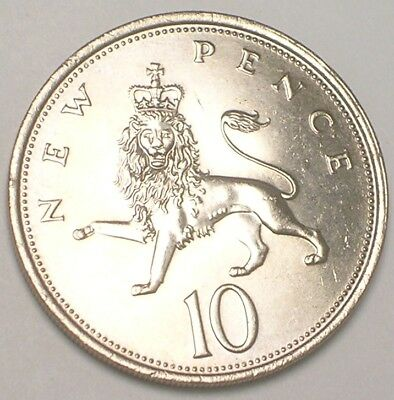 1975 UK Britain British Ten 10 New Pence Lion Coin XF