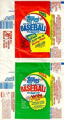 1984 and 1985 Topps Baseball Card Wrappers