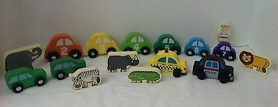 Cars Wooden Numbers Animals Person Lot of 16