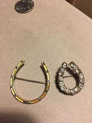 Lot of TWO Antique Lucky Horseshoe Embedded Rhinestones Brooches Pins C Clasp