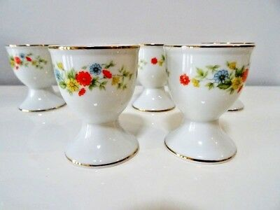 egg cups x6 GERBERA DAISY Crown Lefton 22K trim PORCELAIN Easter SPRING