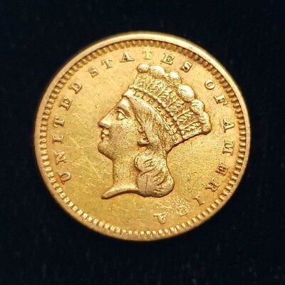 1861 $1 US American Gold Large Indian Head One Dollar Type 3 15mm Coin +IH3G6110