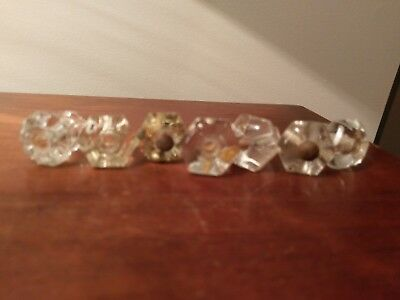 6 Clear Antique Vintage Glass Six Sided Drawer Dresser Cabinet Pulls Knobs !