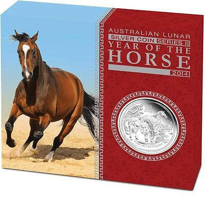 2014 Australian Lunar Series II Year of the Horse 1oz Silver Proof Coin
