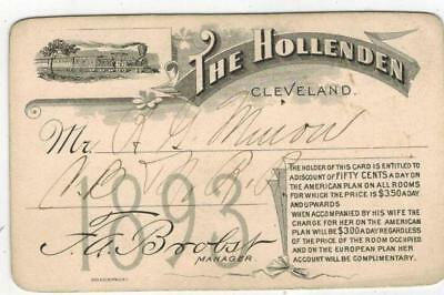 RARE 1893 The Hollenden Hotel Cleveland Ohio Discount Card 50 Cents A Day