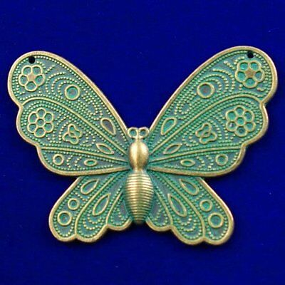Carved Bronze Brass Butterfly Pendant Bead 62x43x3mm D31084